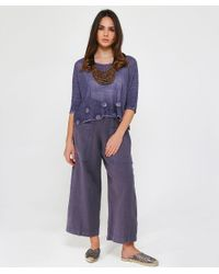 Grizas - Blue Linen Cropped Pocket Trousers - Lyst