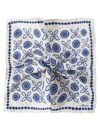 Stenstroms Blue Silk Patterned Pocket Square for men