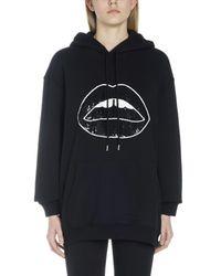 Felpa con cappuccio 'Sequin lip' di Markus Lupfer in Black