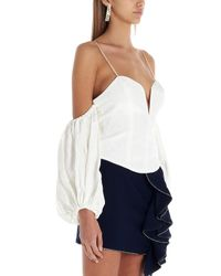 Top off -the-shoulder 'Celeste moire' di For Love & Lemons in White