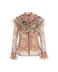 Camicia seta stampa all over di Zimmermann in Multicolor