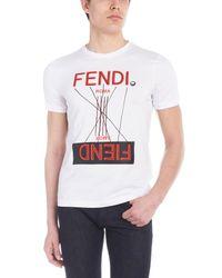 Fendi White Men's Fiend T-shirt for men
