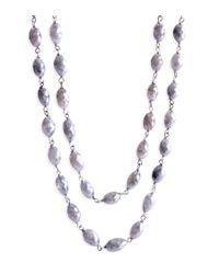 Nina Runsdorf - Metallic Grey Diamond Bead Necklace - Lyst