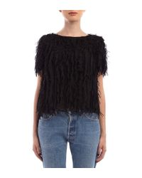 Marco De Vincenzo - Shredded Chiffon Black Crop Top - Lyst