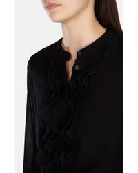 Karen Millen - Black Draped High Neck Blouse - Lyst