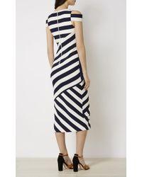 Karen Millen - Striped Midi Dress - Blue/multi - Lyst