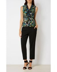 Karen Millen - Tie-neck Floral Top - Black/multi - Lyst