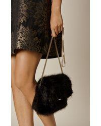 Karen Millen | Faux Fur Chain Bag - Black | Lyst