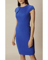 Karen Millen High-neck Pencil Dress - Blue