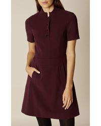Karen Millen - Blue Mandarin-collar Dress - Dark Red - Lyst