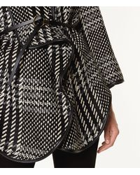 Karen Millen - Black Oversized Check Cape - Lyst
