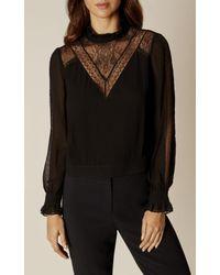 Karen Millen   Black Lace Blouse - Black   Lyst