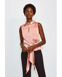 Karen Millen Pink Silk Satin Tie Waist Blouse