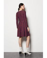 Karen Millen Geo Print Dress Red