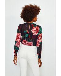 Karen Millen Multicolor Rose Print Pintuck Blouse