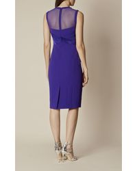 Karen Millen - Origami Pencil Dress - Blue - Lyst