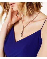 Karen Millen Metallic Swarovski Teardrop Necklace - Rose Gold Colour