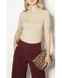 Karen Millen Multicolor Chain Knitted Top - Stone