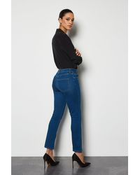 Karen Millen Blue Power Stretch Vintage Kick Crop Jeans