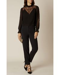 Karen Millen - Black Lace Blouse - Black - Lyst