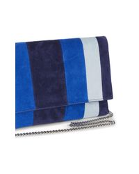 Karen Millen - Striped Brompton Clutch - Blue/multi - Lyst