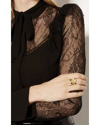 Karen Millen - Metallic Geo Flower Ring - Gold Colour - Lyst