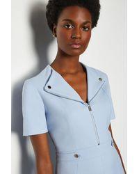Karen Millen Blue Zip Placket Short Sleeve A-line Dress