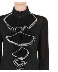 Karl Lagerfeld Black Ruffle Blouse