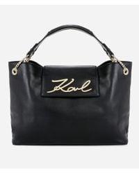 Karl Lagerfeld Black K/signature Soft Shopper