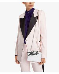 Karl Lagerfeld White K/signature Shine Minaudiere