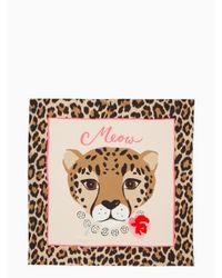 Kate Spade - Pink Cheetah Silk Square Scarf - Lyst