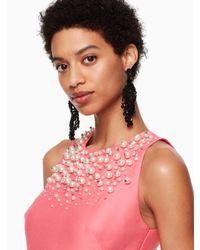 Kate Spade - Pink Pearl Embellished Mikado Dress - Lyst