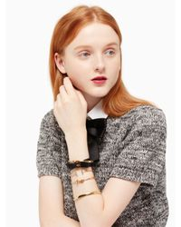 Kate Spade - Black Wrap Things Up Leather Bow Wrap Bracelet - Lyst