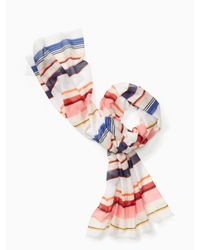kate spade new york | Pink Berber Stripe Oblong Scarf | Lyst