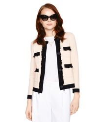 kate spade new york | Pink Fringe Pocket Cardigan | Lyst