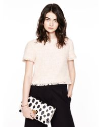 kate spade new york | Pink Tweed Fringe Short Sleeve Top | Lyst