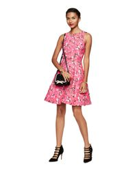 kate spade new york | Pink Rose Brocade Open Back Dress | Lyst