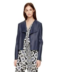 kate spade new york | Blue Draped Leather Jacket | Lyst