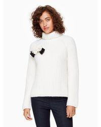 kate spade new york   White Rosette Bow Alpaca Sweater   Lyst