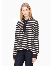 kate spade new york | Black Stripe Hooded Sweatshirt | Lyst