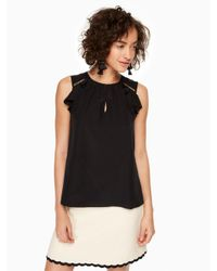 kate spade new york | Black Ruffle Silk Top | Lyst