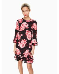kate spade new york | Red Rosa Ruffle Shift Dress | Lyst