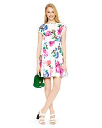 kate spade new york | Multicolor Blooms Fit And Flare Dress | Lyst