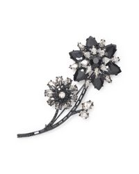kate spade new york - Black Trellis Blooms Large Brooch - Lyst