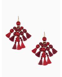 Kate Spade - Red Pretty Poms Tassel Statement Earrings - Lyst