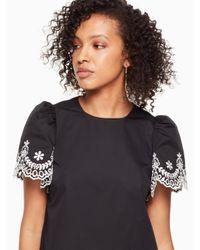 Kate Spade Black Flutter Sleeve Cutwork Dress