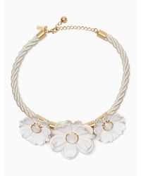 Kate Spade - White Bright Blossom Flower Statement Necklace - Lyst