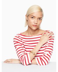 Kate Spade - Metallic All Wrapped Up Bow Hinged Bangle - Lyst