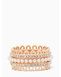 Kate Spade - Multicolor Chantilly Charm Stackable Ring Set - Lyst
