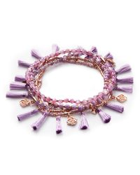 Kendra Scott - Purple Julie Rose Gold Stretch Bracelet Set In Lilac Mother Of Pearl Mix - Lyst